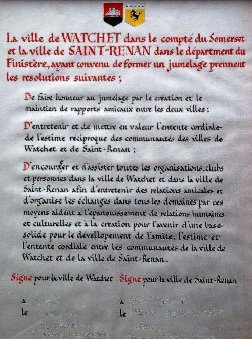 Charte signée à Watchet